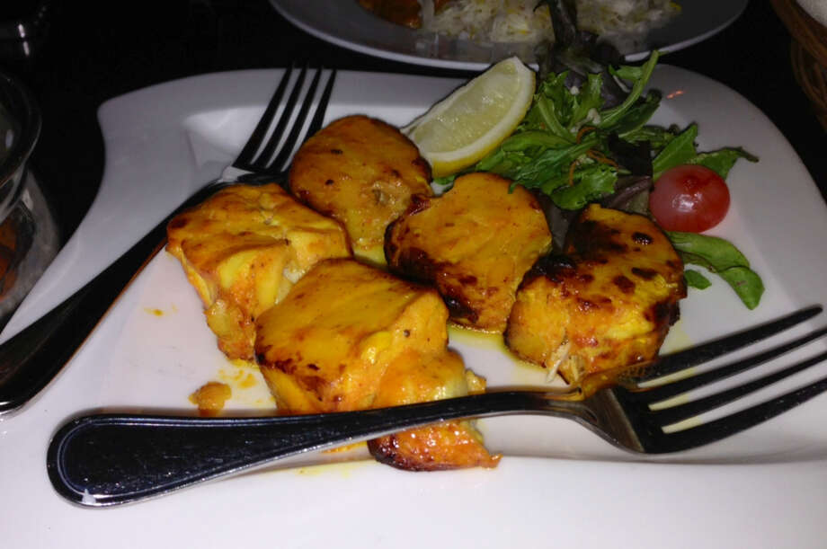 Fish with four kinds of peppers at Amber India in San Francisco