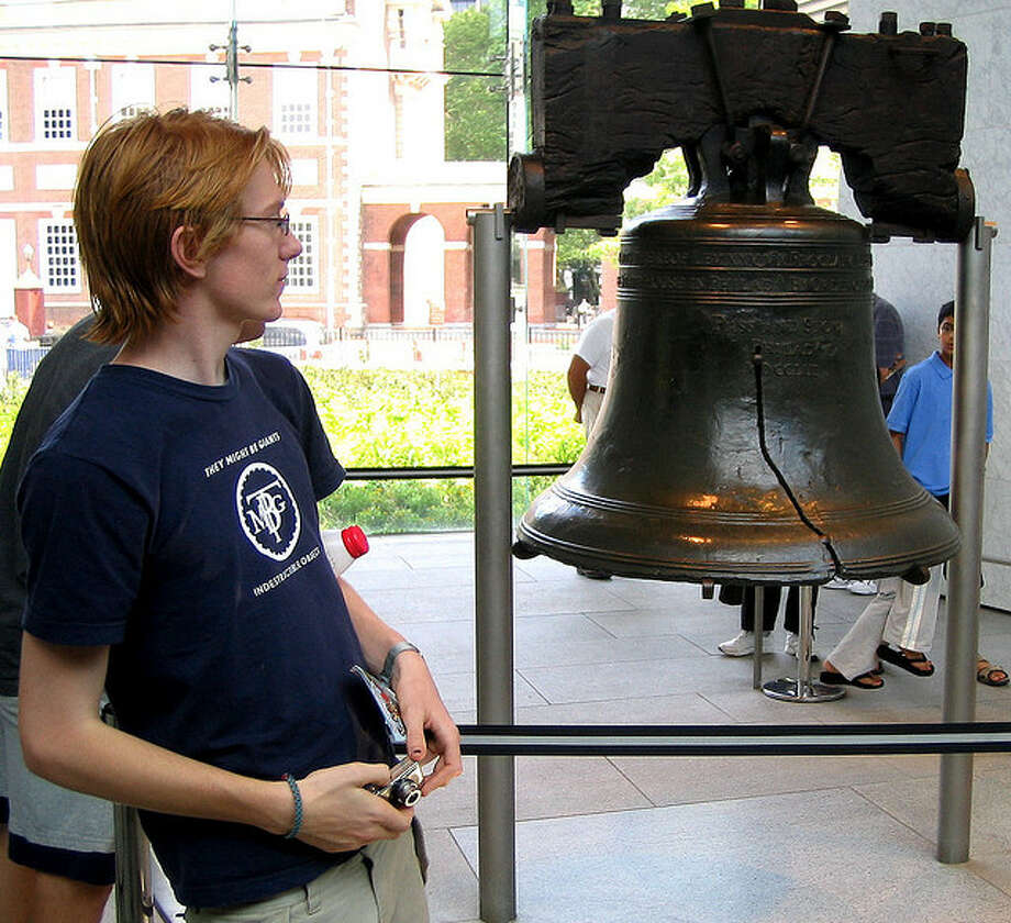"PENNSYLVANIA: The Liberty Bell, an icon of American freedom in Philadelphia, is inscribed with part of Leviticus 25:10 saying, ""Proclaim Liberty throughout the land unto all the inhabitants thereof.""  sampsyo/Flickr Creative Commons"