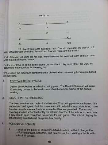 District 20-4A bylaws regarding tiebreakers in football. Photo: Jared Ainsworth