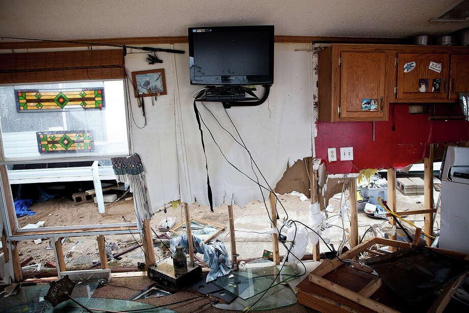 HIGHLANDS, NJ - NOVEMBER 01:  The inside of a destroyed trailer is seen on November 1, 2012 in Highlands, New Jersey. Superstorm Sandy, which has left millions without power or water, continues to affect business and daily life throughout much of the eastern seaboard. Photo: Andrew Burton, Getty Images / 2012 Getty Images