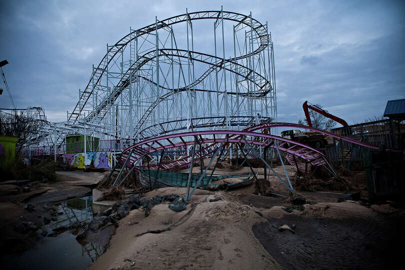 KEANSBURG, NJ - NOVEMBER 01: A damaged roller coaster sits inside Keansburg Amusement Park after Sup
