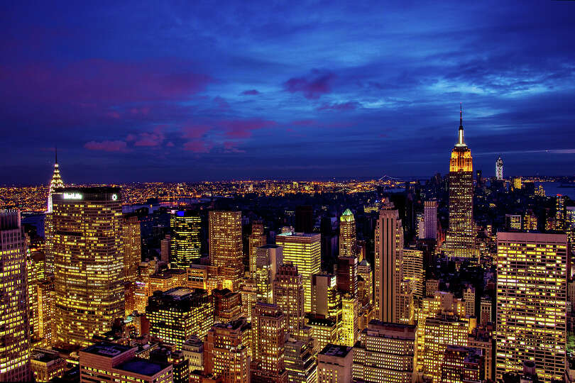 NEW YORK, NY - NOVEMBER 01:  The midtown skyline remains lit as Lower Manhattan remains mostly witho