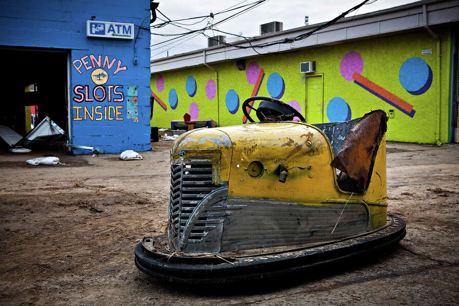 KEANSBURG, NJ - NOVEMBER 01: A damaged bumper car sits inside the Keansburg Amusement Park after Sup