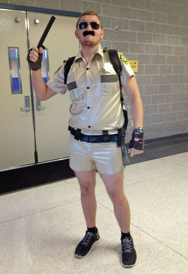 Nick Hudak, senior at Cohoes High School, as Lieutenant Dangle from Reno 911. Photo by Jenna Colozza/New Visions: Journalism & Media Studies Photo: New Visions: Journalism & Media Studies