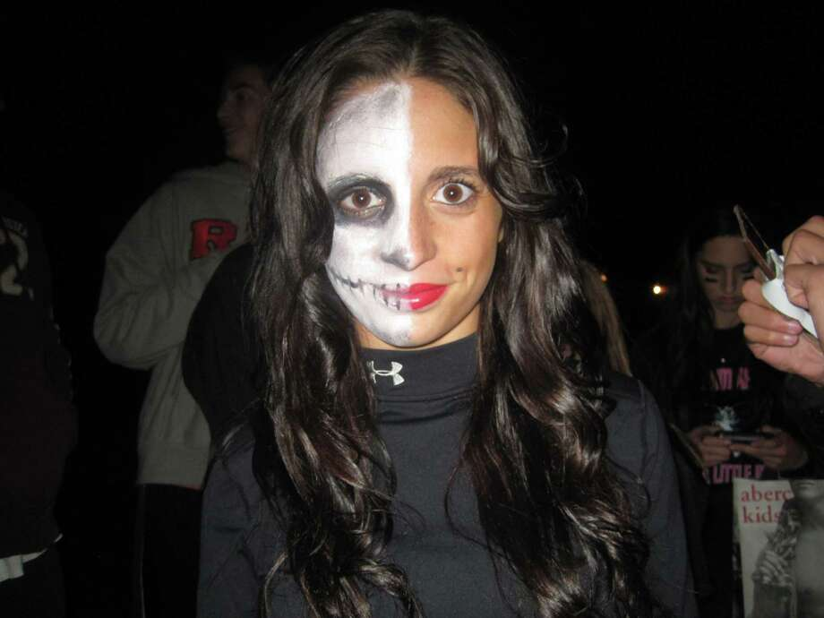 Senior at Schalmont High School, Rachael Gac, dressed as a half skeleton-half pin-up doll. Photo by Rosa D'Ambrosio/New Visions Journalism and Media Studies. Photo: New Visions: Journalism And Media Studies