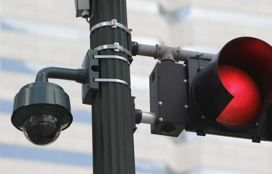 A surveillance camera is shown in Houston. Sugar Land officials are considering placing about 200 surveillance cameras at all of its entrances. (Melissa Phillip/Chronicle)