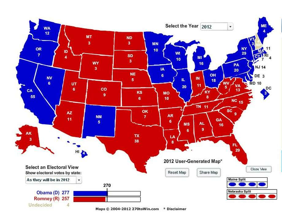 Dunham's Electoral College Map - Nov. 2, 2012