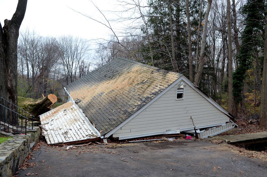 The garage of Michelle Morris, located on Hunting Ridge Rd. in Stamford, collapsed during hurricane Sandy, photographed on Thursday, Nov. 1, 2012. Photo: Amy Mortensen / Connecticut Post Freelance