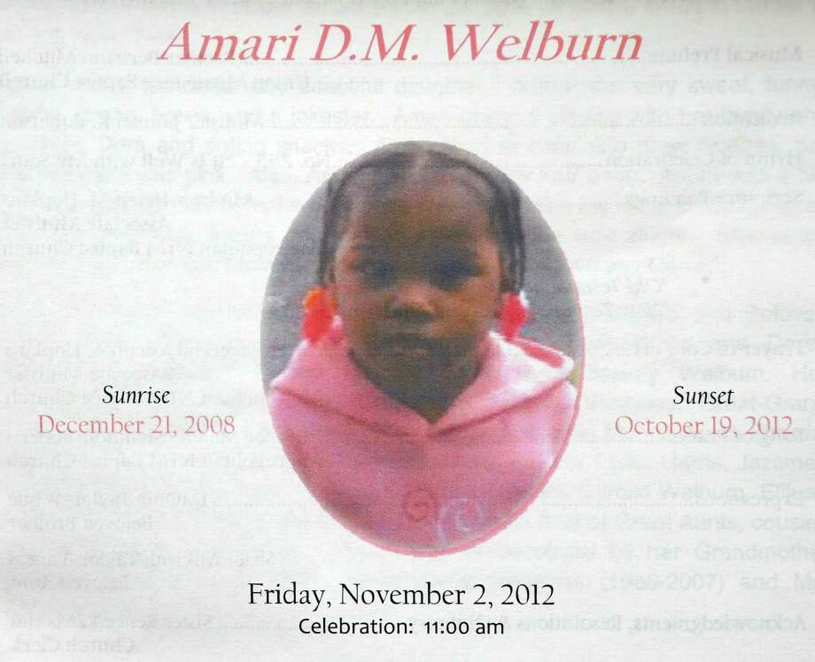 Photo of 3-year-old Amari Welburn on her funeral service program in Albany, NY Friday Nov. 2, 2012. (Michael P. Farrell/Times Union) Photo: Michael P. Farrell