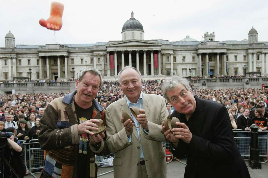 Who among us can forget the sound of coconuts as King Arthur looked for the grail? Terry Gilliam, London Mayor Ken Livingstone and Terry Jones lead the general public in the attempt to break the Guinness World Record for the World's Largest Coconut Orchestra to celebrate St George's Day at Trafalgar Square on April 23, 2007, in London. Photo: MJ Kim, Getty / 2007 Getty Images