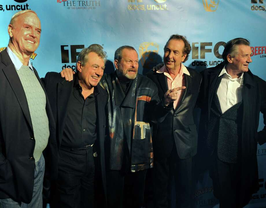 Must have thought there was free Spam, Cast members of the Monty Python troupe arrive at the Ziegfield Theater on Oct. 15, 2009. From left are: John Cleese, Terry Jones, Terry Gilliam, Eric Idle, and Michael Palin.    AFP PHOTO / TIMOTHY A. CLARY Photo: TIMOTHY A. CLARY, Getty / 2009 AFP