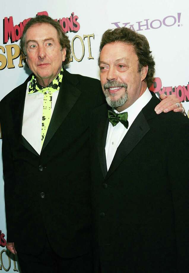 """Spamalot"" lyrist Eric Idle and actor Tim Curry attend the opening night after party for ""Monty Python's Spamalot"" at Roseland Ballroom March 17, 2005, in New York City. Photo: Evan Agostini, Getty / 2005 Getty Images"