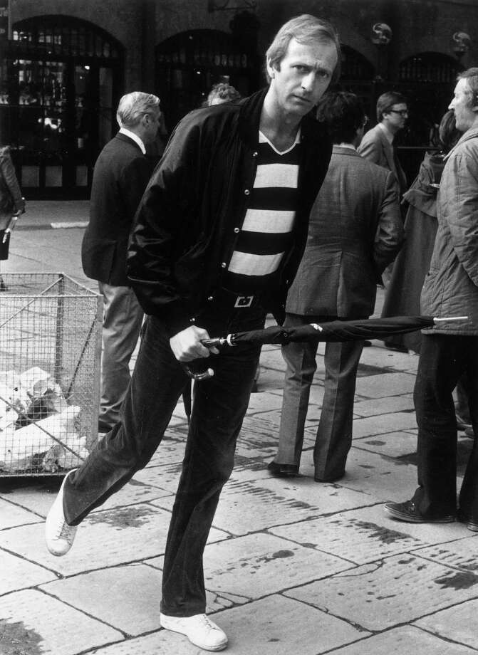 But where is the minister of silly walks? British comedian and actor of Monty Python fame, Graham Chapman, tries out a silly walk on June 25, 1980.  Photo: Stuart Clarke, Getty / Hulton Archive