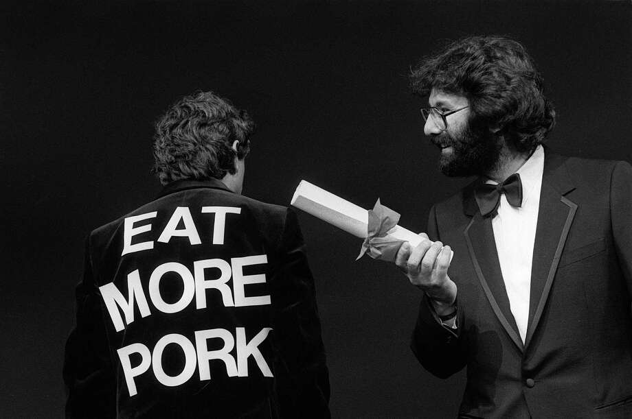 "Such class? But what about Spam?   Monty Python's Flying Circus comedy team gets the Special Jury Prize for their film ""The Meaning of Life"" at the 1983 Cannes Film Festival on May 19, 1983. Photo: GATTI-DUVAL, Getty / AFP"