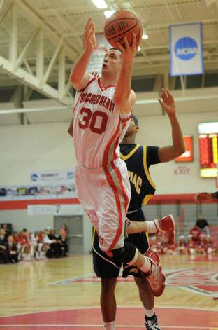 Sacred Heart men Nick Greenbacker versus Quinnipiac at the Sacred Heart University Pitt Center on Monday, February 14, 2011. Photo: Brian A. Pounds, ST / Connecticut Post
