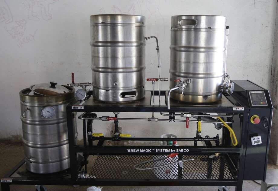 The sample brews being given out during HBW are from test batches made on this smaller system. (James Nielsen / Houston Chronicle)