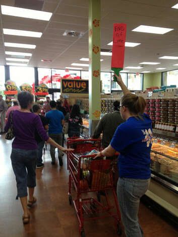 Big crowds greeted the grand opening of the Trader Joe's at the Quarry Village on Friday, Nov. 2, 2012. Photo: Neal Morton, San Antonio Express-News