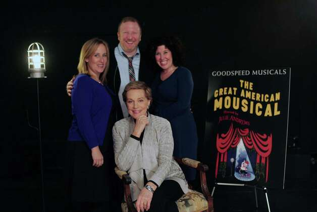 "Julie Andrews is directing the new musical, ""The Great American Mousical,"" that starts performances Thursday, Nov. 8 at Goodspeed Musicals' Norma Terris Theatre in Chester. Her collaborators are (left to right) composer Zina Goldrich, book writer Hunter Bell, and lyricist Marcy Heisler. Photo: Contributed Photo"