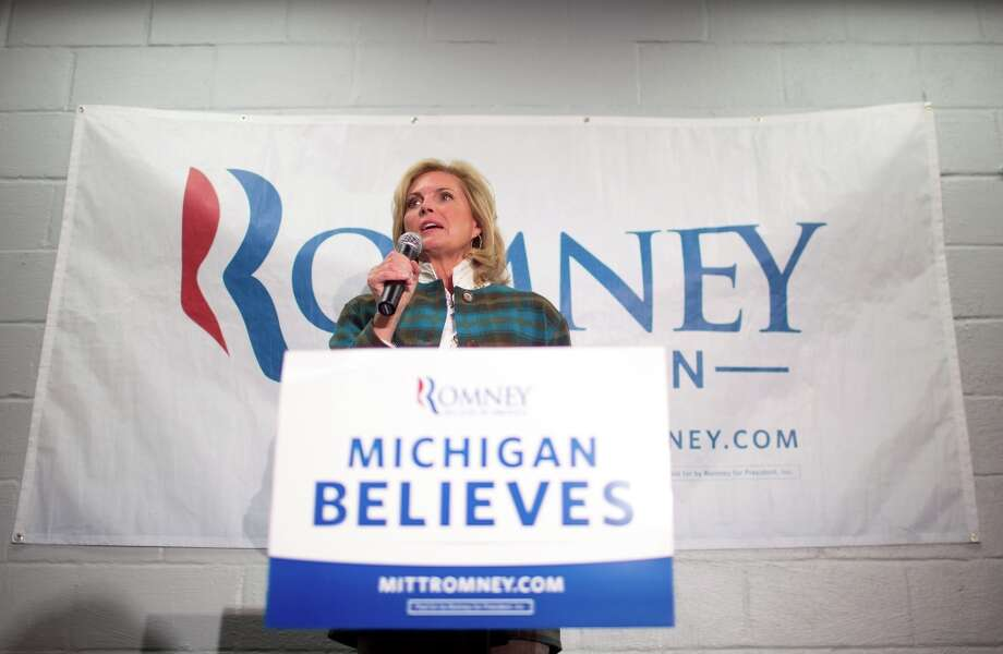 Ann Romney, wife of Republican presidential candidate Mitt Romney, speaks to supporters in Grand Rapids, Mich. on Monday, Oct. 29, 2012. (AP Photo/Detroit News, Adam Bird, Pool) Photo: Adam Bird, Associated Press / Pool Detroit News