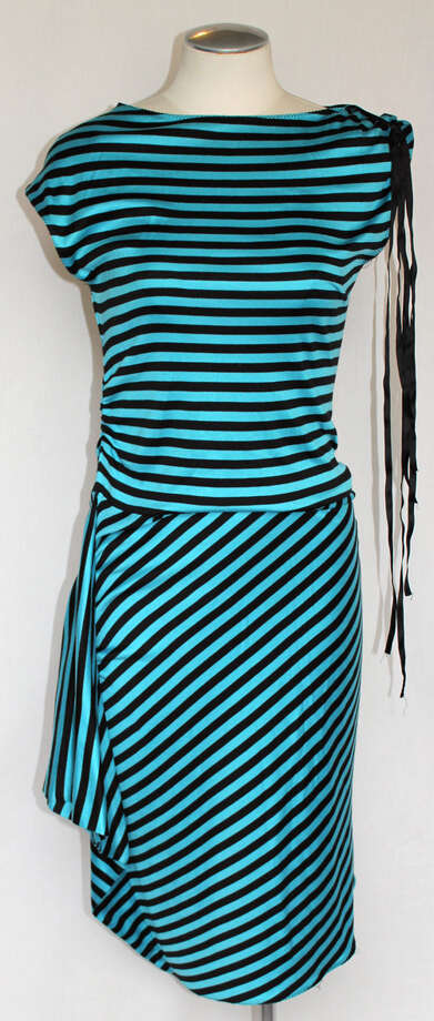 Marc Jacobs teal and black striped dress Photo: Lauren Robinson/Seattle Goodwill