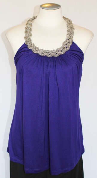 Purple tank top with silver braid