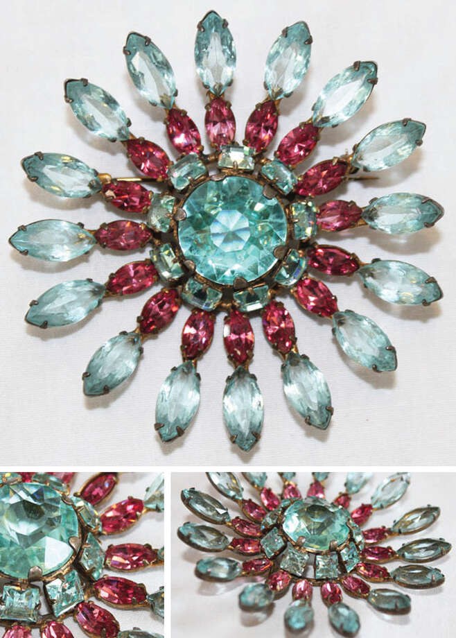 Vintage sterling brooch with blue and pink Marquise stones Photo: Lauren Robinson/Seattle Goodwill