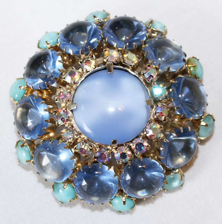 Blue stone brooch Photo: Lauren Robinson/Seattle Goodwill