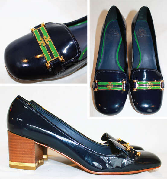 Patent leather navy Tory Burch heels.