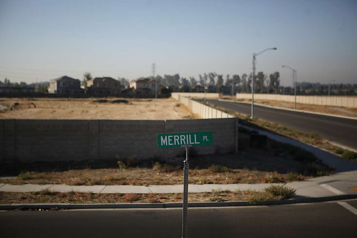 Vacant lots sit where homes were schedule to be built on the north side of Merced on Tuesday Oct. 30, 2012. Merced County is littered with hundreds of acres of these once well intended new neighborhoods. Merced County in California's central Valley is one of the hardest hit communities when it comes to the nations unemployment and foreclosed crisis.