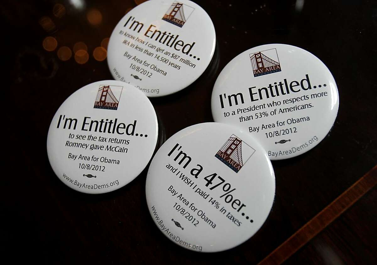 Some of the new election badges the Obama campaign has come up with. Wade Randlett and his wife Lorna have helped raise $700,000 for the President Obama's election campaign in 12 events in the Bay Area.