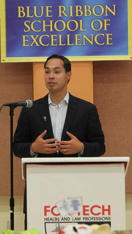 San Antonio Mayor Julian Castro speaks at a luncheon at Fox Tech High School celebrating the school's designation as a National Blue Ribbon School. It is one of 269 nationwide. Photo: JOHN DAVENPORT, San Antonio Express-News / ©San Antonio Express-News/Photo Can Be Sold to the Public