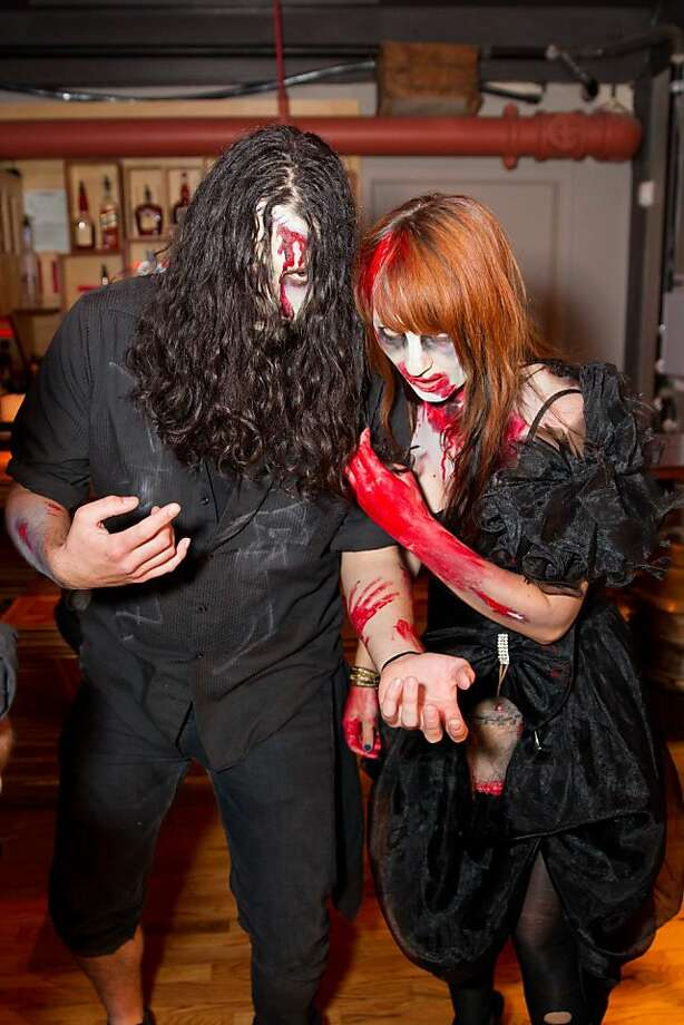 "Rob Zombie has nothing on these two: Borden Ornelaz and Kelly McVicker do the ""undead"" look quite well, at the book release party for Kirk Hammett's new horror tome at Public Works Nov. 1. Photo: Drew Altizer Photography"