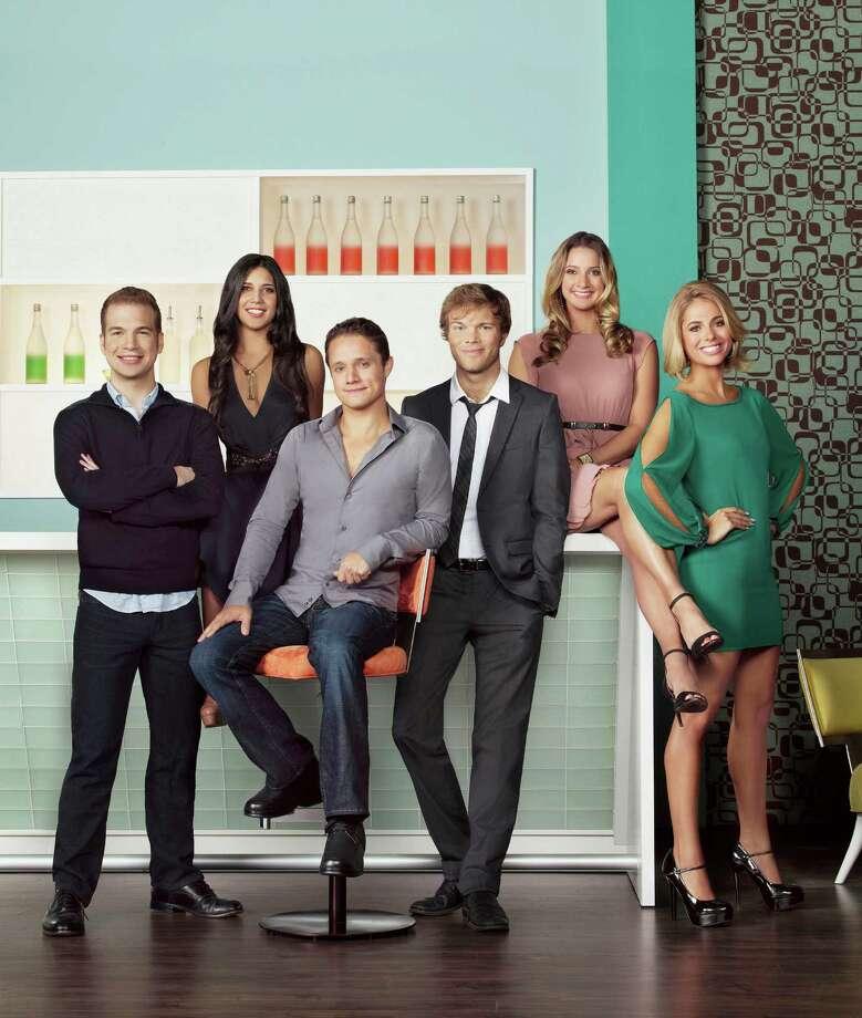 """Start-Ups: Silicon Valley"" stars David Murray (from left), Kim Taylor, Ben Way, Dwight Crow, Hermione Way and Sarah Austin. Photo: Bravo / 2012 Bravo Media, LLC"
