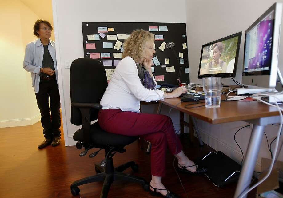 "Lisa Fruchtman (right) looks over her film ""Sweet Dreams."" Photo: Brant Ward, The Chronicle"