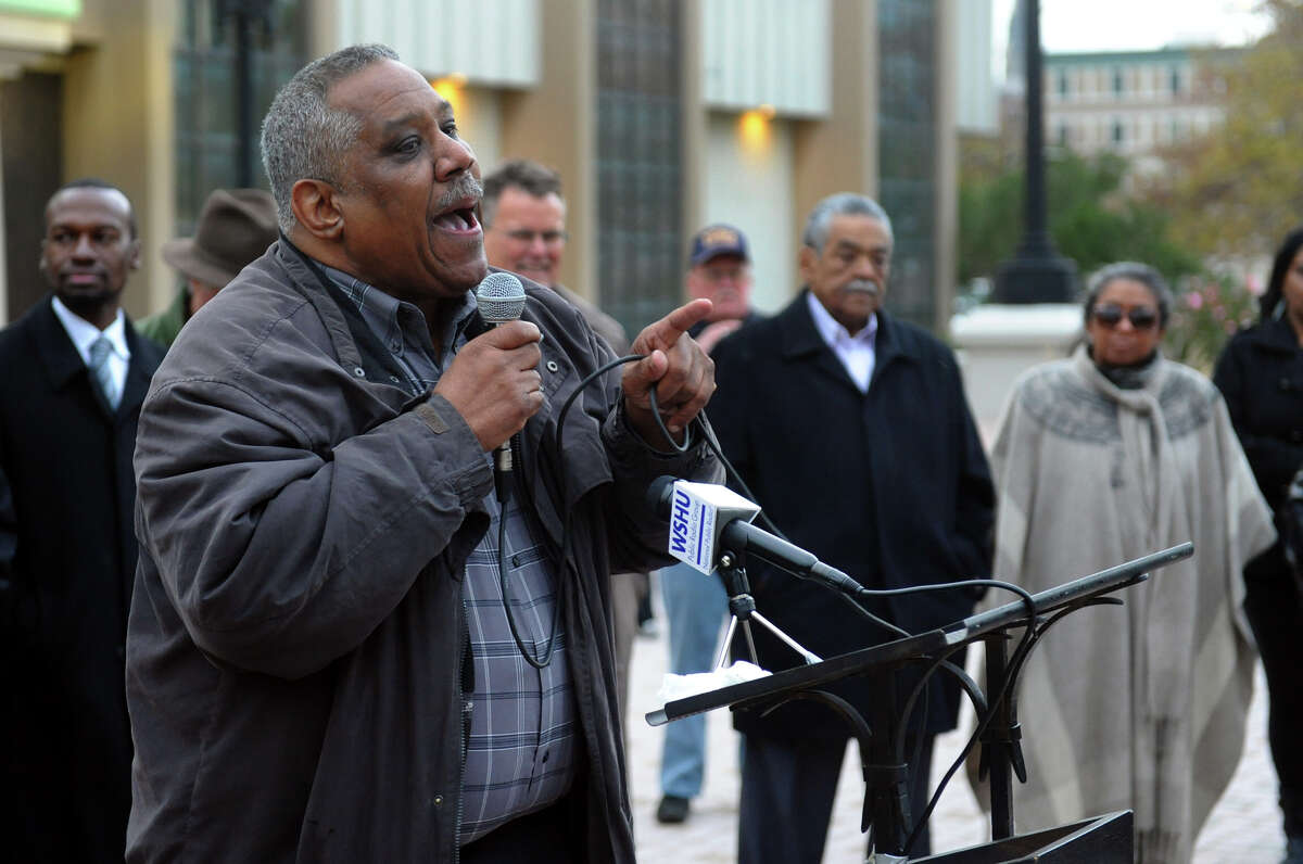 Ralph Ford, 139th District Leader, speaks durnig a rally which was held outside the Margaret Morton Center to protest against a proposed charter change that would put control of the school board in the hands of the mayor, along Broad Street in Bridgeport, Conn. on Thursday November 1, 2012.