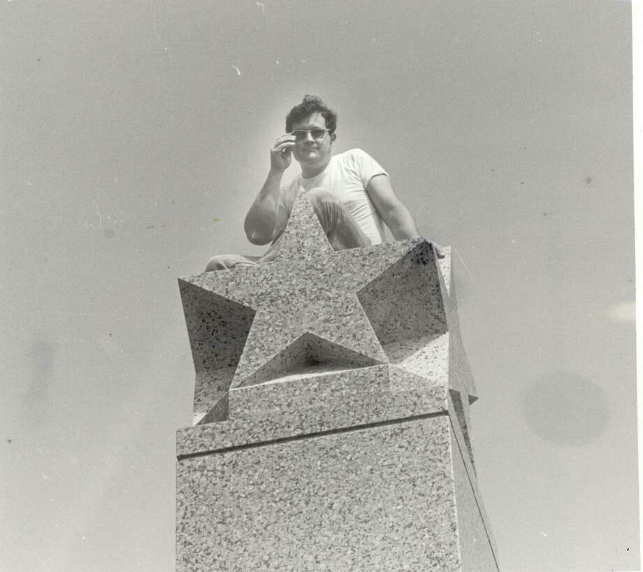 1977 relocation of the Gusher monument. Photo: Enterprise Archives