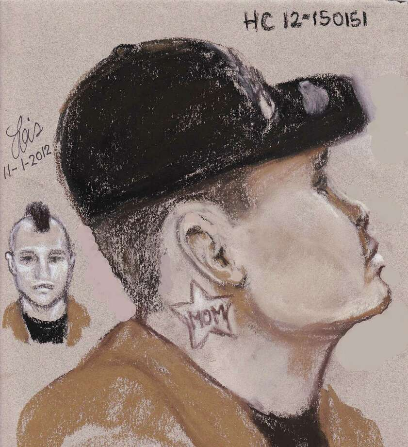 It's nice to know this guy loves his mom, but was he wearing a hat and had hair on the side of his head, or was he not wearing a hat and had a mohawk? Also, shouldn't the sketch that shows his whole face be the bigger shot, not the one with just his ear? Photo: Harris County SO