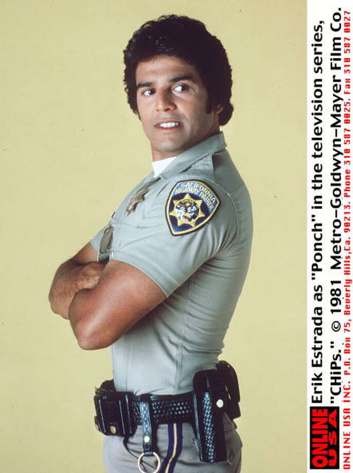 "TV so cheesy it was good. That would be ""CHiPs,"" starring Erik Estrada in a show about best buddy motorcycle cops in tight pants. The show debuted in 1977.  Photo: Getty Images, / / Getty Images North America"
