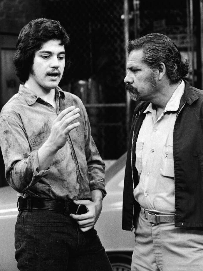 "Stand-up comic Freddie Prinze (L) starred in ""Chico and the Man,"" the first sitcom set in a Mexican-American neighborhood. Then Prinze killed himself in 1977, at age 22, and the producers wrote his character out of the show. Photo is from 1975.  Photo: NBC Television, / / 2003 Getty Images"