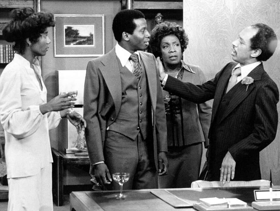 """We're movin' on up!"" Sherman Hemsley (R) and Isabel Sanford (2nd from R) were comedic brilliance in ""The Jeffersons,"" a ground-breaking sitcom with a mostly black cast and edgy writing in its early years. It debuted in 1975. Hemsley died in July of 2012. Photo: / / CBS"