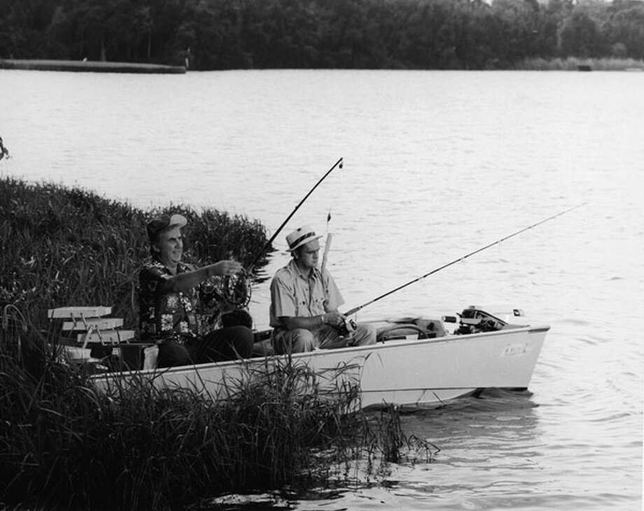 "Too bad this was the only '70s photo available of Bob Newhart (R), who made TV viewers laugh for six seasons with his stammering, dead-pan quips on ""The Bob Newhart Show."" He's pictured fishing with Ed McMahon in 1972.  Photo: Hulton Archive, / / 2004 Getty Images"