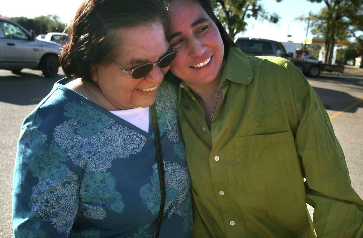 Anna Vasquez (right) embraces her mother Maria Vasquez after she was released from prison on Nov. 2, 2012. Anna, one of four San Antonio women fighting to clear their names in the 1994 sexual assault of two sisters, was released from prison on parole from the Crain Unit in Gatesville.