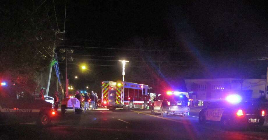 A woman was hit by a car on Post Road East in Westport, Conn. on Friday, Nov. 2, 2012. Photo: Tom Cleary
