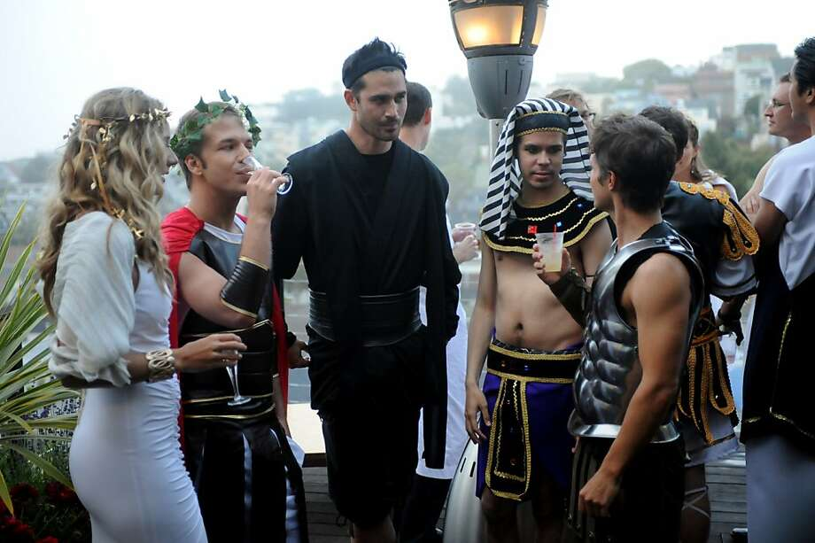 "Cast members of ""Start-Ups: Silicon Valley"" get into the spirit of a housewarming toga party. Photo: David Moir, Bravo"