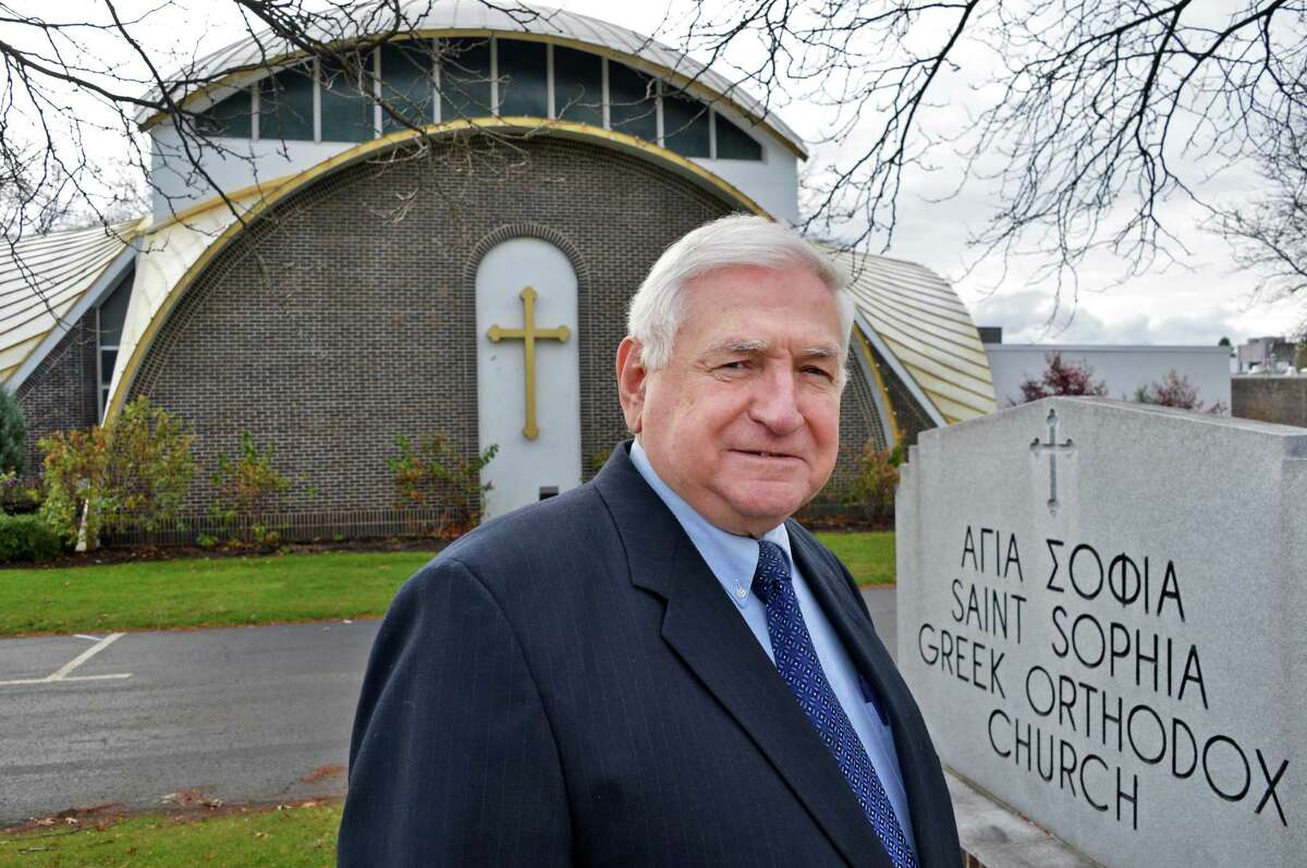 Peter Sokaris in front of Saint Sophia Greek Orthodox Church in Albany Friday Nov. 2, 2012. (John Carl D'Annibale / Times Union)