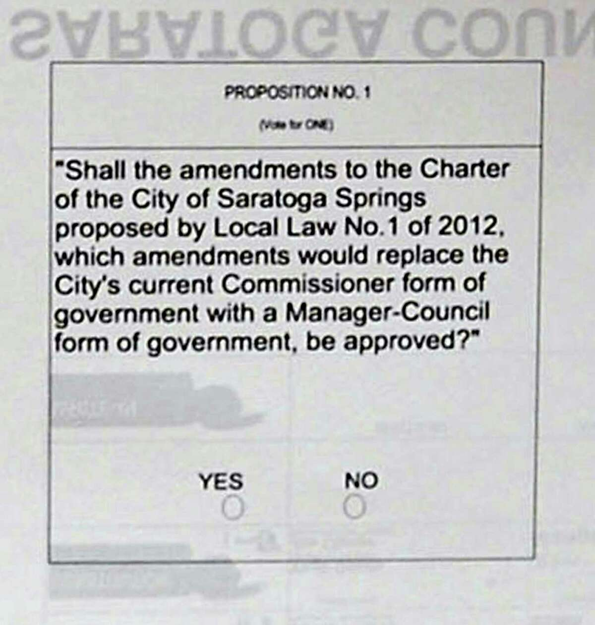 The proposition on the back of a double sided sample ballot for Saratoga County at the Saratoga Board of Elections on Friday Nov. 2, 2012 in Ballston Spa, N.Y. (Lori Van Buren / Times Union)
