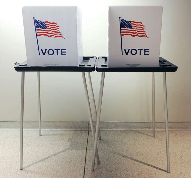 Privacy voting tables which are used by voters to fill in their ballot at the Saratoga Board of Elec
