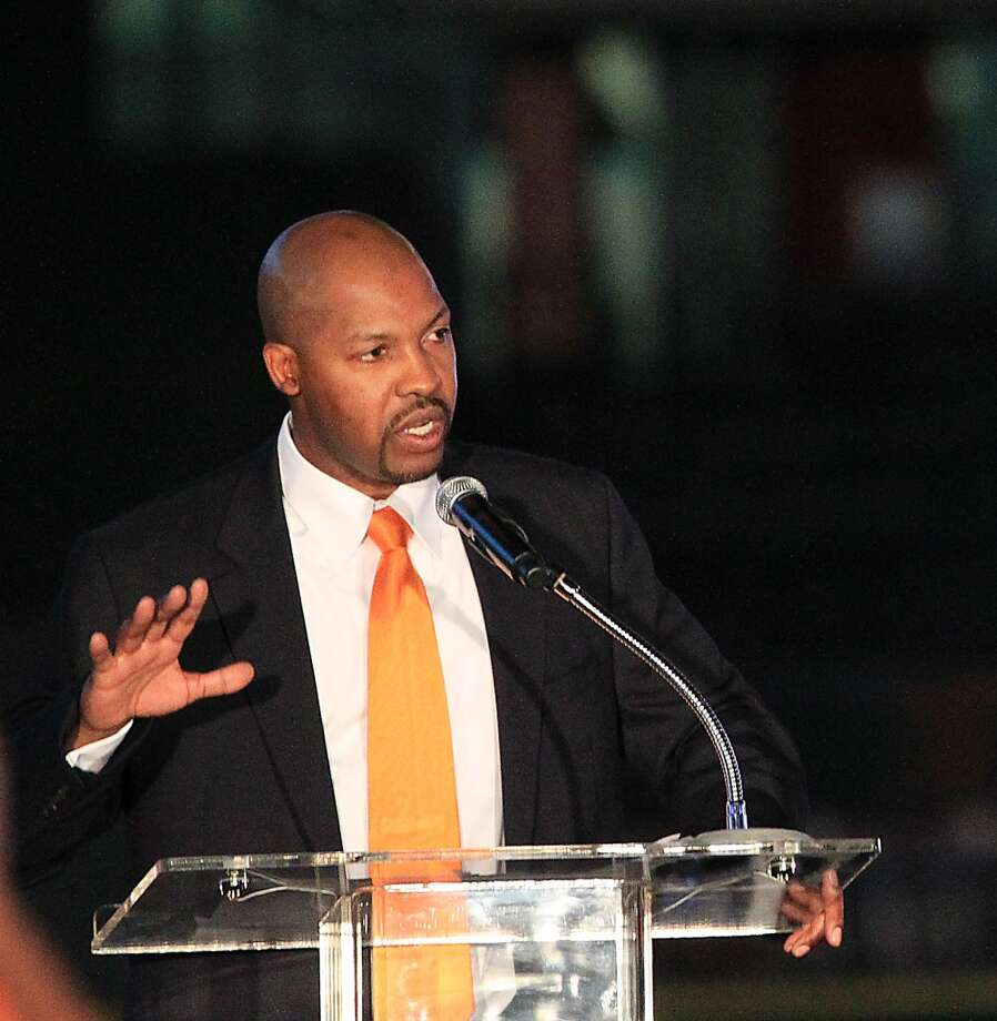 Houston Astros manager Bo Porter speaks to the fans at Minute Maid Park, Friday, Nov. 2, 2012, in Houston, as the Houston Astros unveiled their new logo, uniform, and mascot.