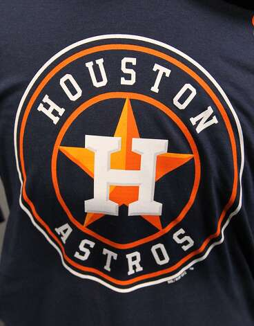 The new Houston Astros logo on a t-shirt at Minute Maid Park, Friday, Nov. 2, 2012, in Houston, as the Houston Astros unveiled their new logo, uniform, and mascot.