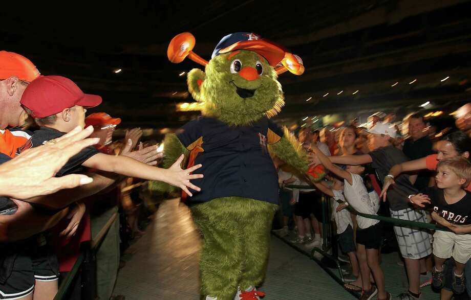 """Orbit"" the Houston Astros' new mascot makes his first appearance in front of fans at Minute Maid Park, Friday, Nov. 2, 2012, in Houston. Photo: Karen Warren, Houston Chronicle / © 2012  Houston Chronicle"